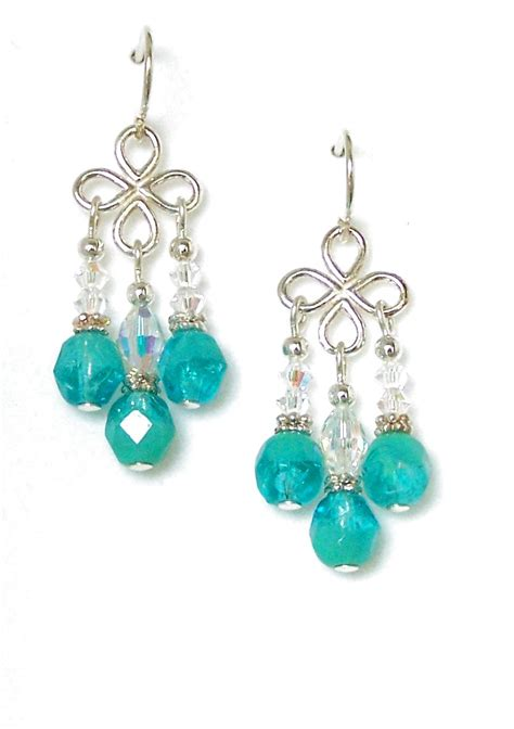 Turquoise Chandelier Crystals Turquoise Chandelier Earrings Earrings