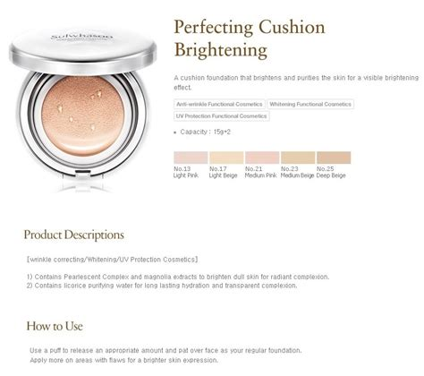 Refill Sulwhasoo Brightening Perfecting Cushion sulwhasoo perfecting cushion brightening spf50 pa 17