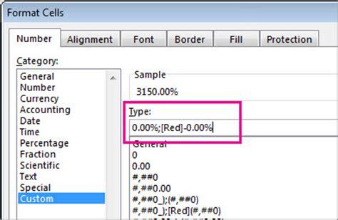 format excel percentage format negative percentages to make them easy to find excel