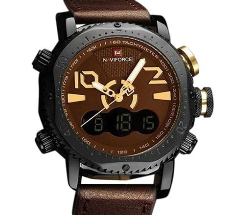 Naviforce Original Brown Leather naviforce brown pu leather wrist for afh153 priyoshop shopping in