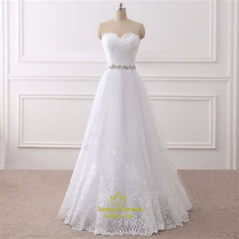 Wedding Dress Lace Overlay by White Lace Overlay Floor Length Wedding Dress With Beaded