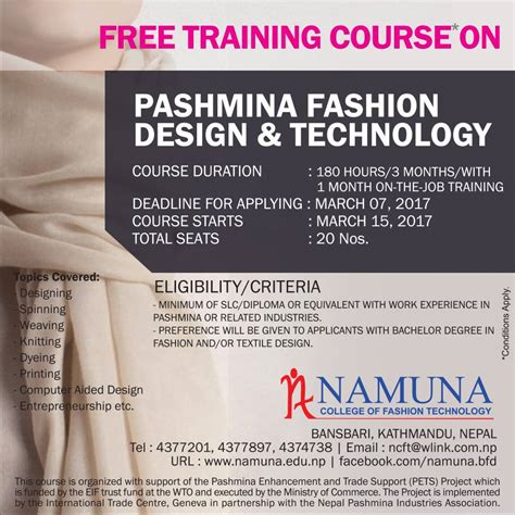 fashion design and technology free training course on pashmina fashion design and technology