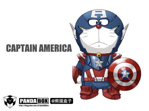 Miniatur Doraemon Capten Amerika the captain america doraemon america captain america and