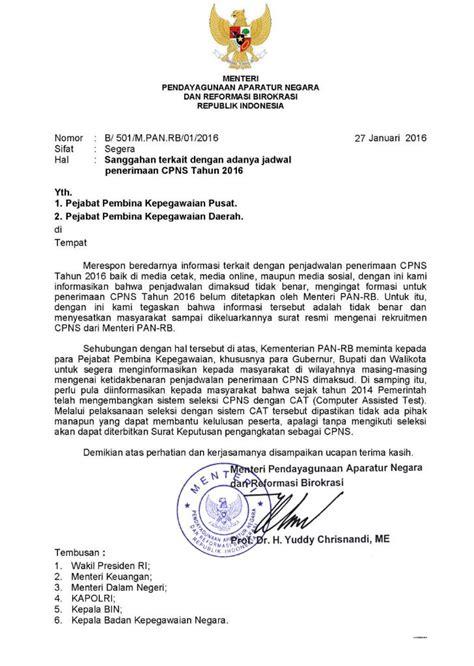 surat menteri panrb tentang sanggahan terkait dengan adanya jadwal