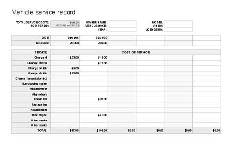 service record template maintenance log sheet template car tips