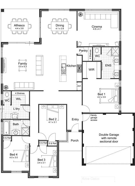 4 bedroom house plans 1 story 5 3 2 bath floor best 4