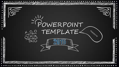 Chalkboard Cartoon Style Powerpoint Template Just Free Slides Chalkboard Powerpoint Template