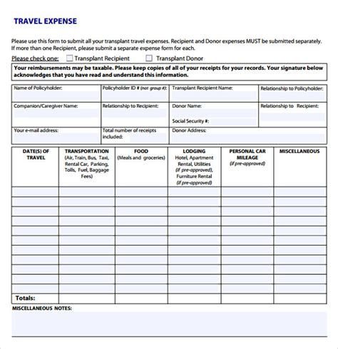 travel expense sheet template sle expense sheet 8 documents in pdf word