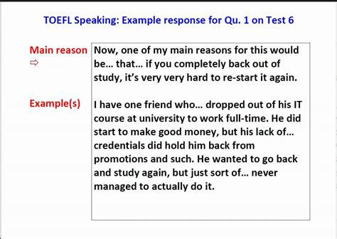 New Toefl Ibt Speaking Question 1 Sle With Scripts Youtube Toefl Speaking Template