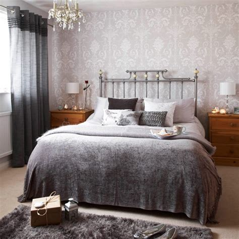 silver bedroom decorating ideas wallpaper silver bedroom take a tour around lisa s christmas home