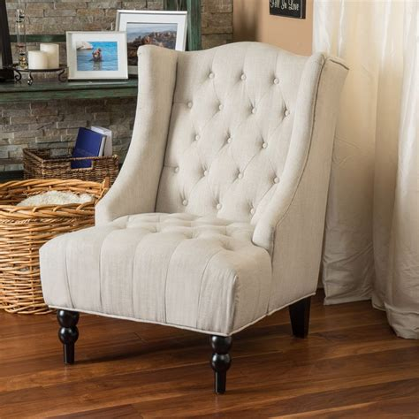 selling home decor toddman light beige polyester blend accent chair  lowescom