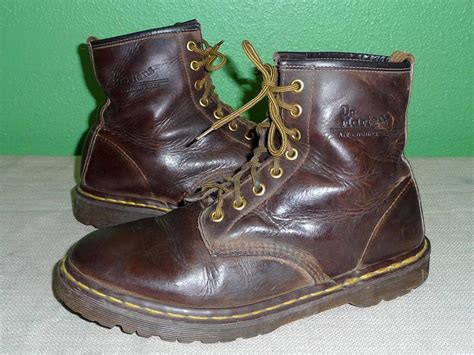 doc martens work boots dr doc marten brown leather 8 eye ankle work boots us