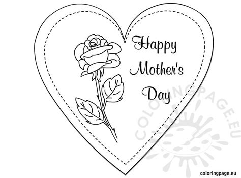 coloring page mother day card printable mother s day card to color