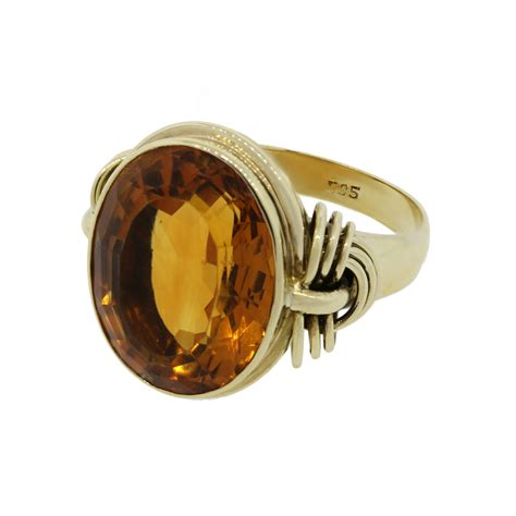 Yellow Citrin 14k yellow gold citrine ring