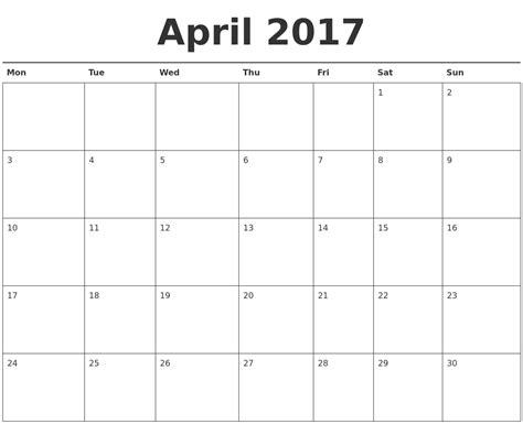 April Calendar Printable Pdf April 2017 Calendar Printable