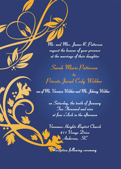 blue gold wedding card template blue and gold wedding invitations blue and gold wedding