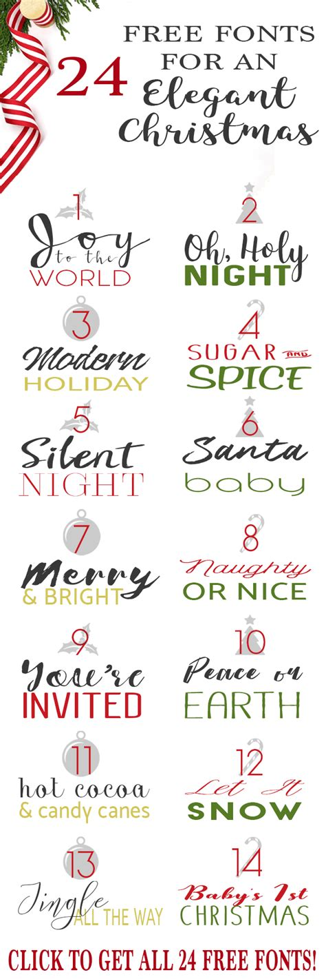 24 free fonts for christmas cards invitations and