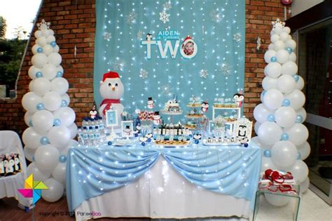 winter birthday decorations backdrop and table for a winter theme