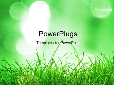powerpoint template green grass depicting nature in the