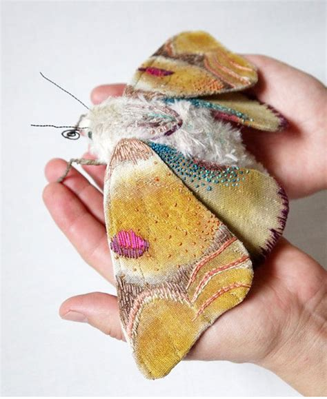 Handmade Textile - colourful handmade textile butterflies and moths by