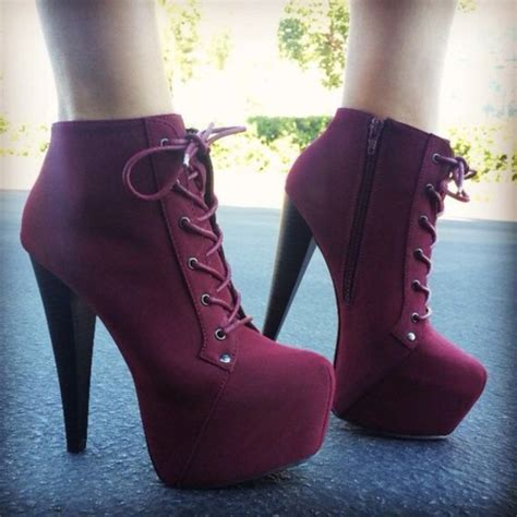 Wedges Boot Style Marun shoes platform lace up boots heels high heels burgundy laces girly purple