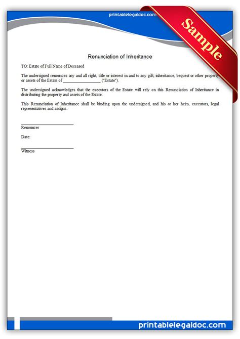 Gift Inheritance Letter Free Printable Renunciation Of Inheritance Form Generic