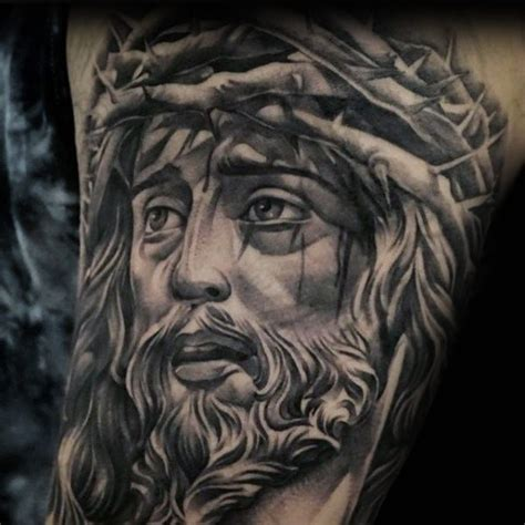 60 Jesus Arm Tattoo Designs For Men Religious Ink Ideas Jesus With Thorns Tattoos