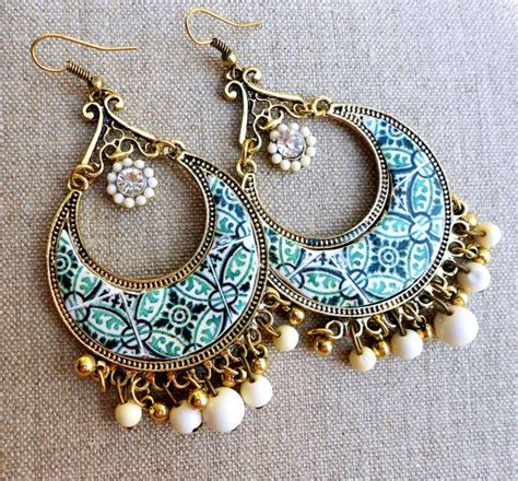 azulejo earrings portugal antique azulejo tile replica chandelier earrings