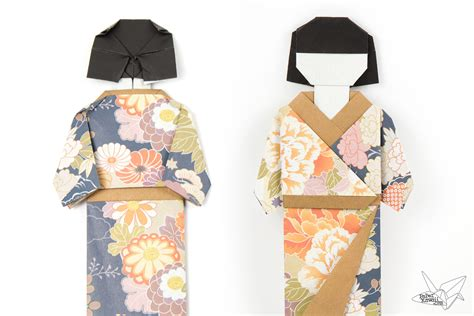 How To Make Japanese Paper Dolls - origami japanese doll in kimono dress tutorial paper kawaii