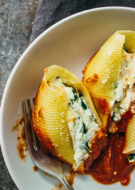 easy ricotta cheese stuffed shells with spinach savory tooth