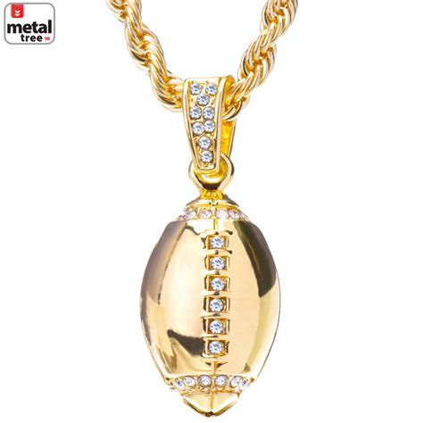 s hip hop 14k gold plated iced out football pendant