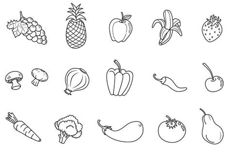 Free Print Out Fruits And Vegetables Coloring For Kids Fruits And Vegetables Coloring Page