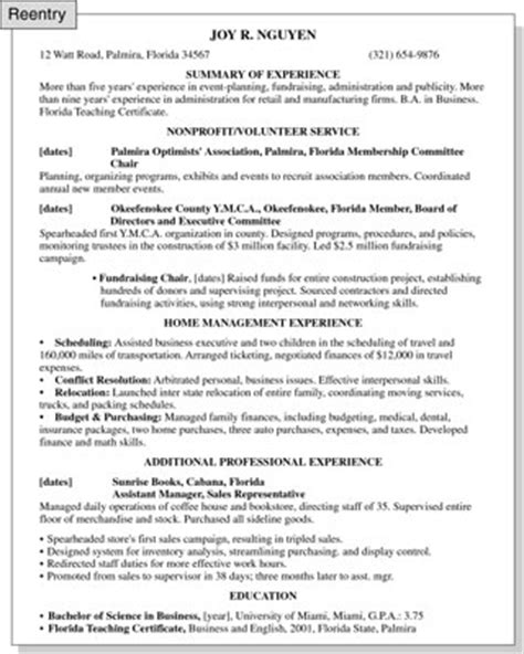 exle resume for stay at home reentering workforce sle cover letter return to profession