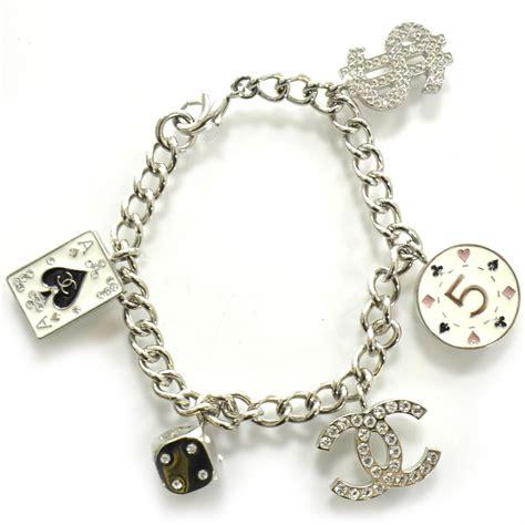 chanel metal lucky charm bracelet silver