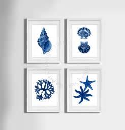 Themed Bathroom Wall Decor Navy Blue Wall Set Of 4 Decor Seashells