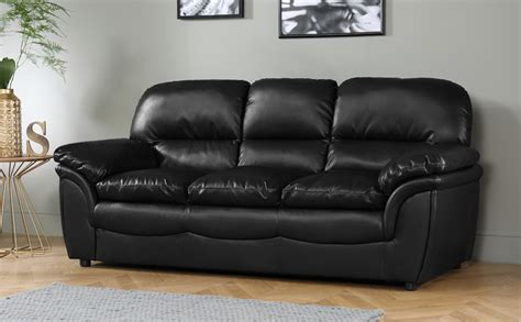 buy cheap leather sofa rochester black leather 3 seater sofa only 163 399 99