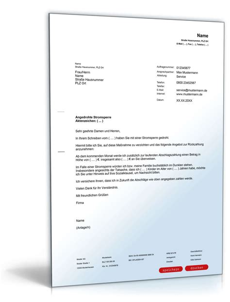 Musterbrief Bearbeitungsgebühr Kredit Zum Ausdrucken Vergleich Bei Angedrohter Stromsperre Musterbrief Vorlage Zum