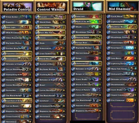 hearthstone legend deck i reached legend 4 different classes decks inside