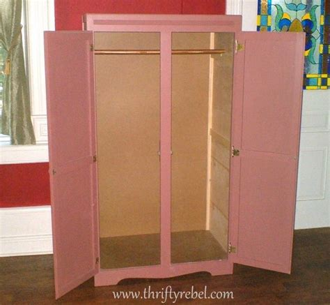 wardrobe makeover into computer armoire thrifty rebel