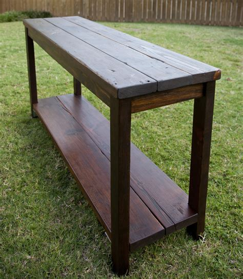 Reclaimed pine console table the grain