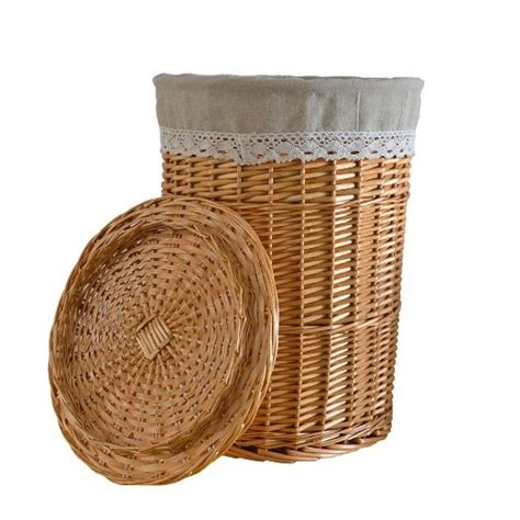 Buy Rurality Round Wicker Laundry Basket With Lid And Wicker Laundry With Lid
