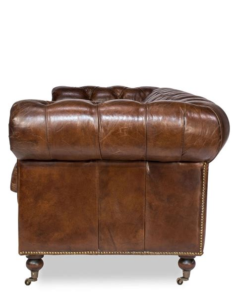 89 castered chesterfield top grain vintage cigar leather