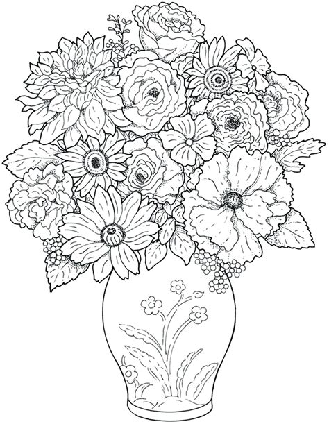 cool coloring pages of flowers flower vase coloring page miss adewa e7ae46473424