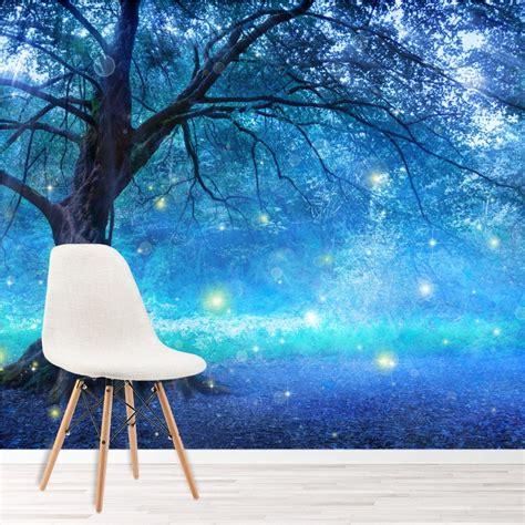 blue fairy tree wall mural fairytale forest photo