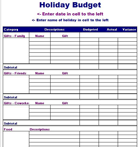 Travel Budget Template Vacation Planner Excel Calendar Template 2016