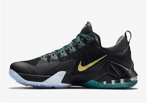 Sepatu Basket Nike Lebron12 Low Black Green Lebronjames Sneakers nike lebron 12 low carbon fiber svsm sneaker bar detroit