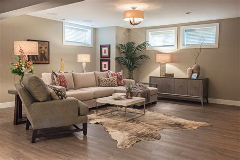 vinyl wood plank flooring Basement Contemporary with