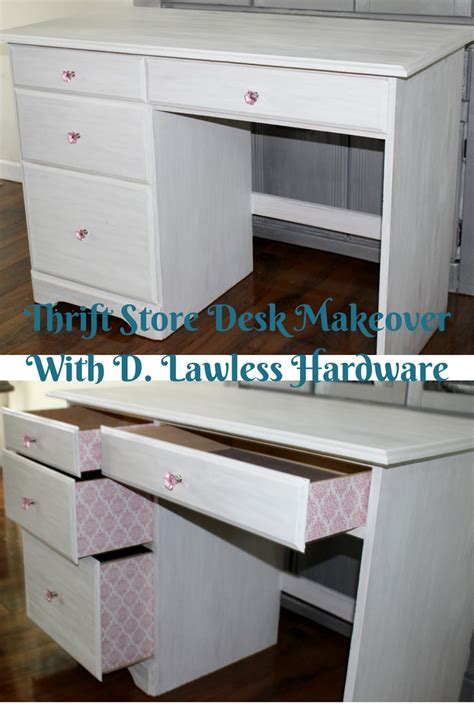 my mom s thrift store home makeover sea of shoes thrift store desk makeover with d lawless hardware