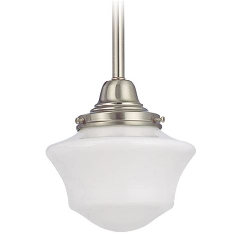 Schoolhouse Style Pendant Lighting 6 Inch Schoolhouse Mini Pendant Light In Satin Nickel Finish Fc3 09 Gc6 Destination Lighting