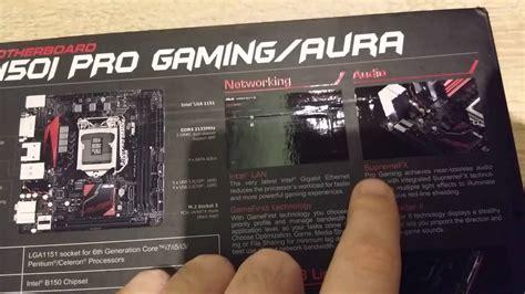Asus B150i Pro Gamingwifiaura Lga 1151 2016 unboxing asus mini itx ddr4 lga 1151 b150i pro gaming